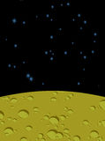 Moon landscape in space. Yellow surface of  planet. Black Cosmos Royalty Free Stock Images