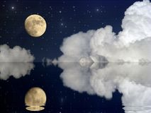 Moon and large clouds moonlit evening landscape with moon dark b