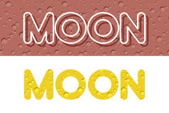 Moon. Letters from Lunar yellow texture. Vector illustration Stock Photo