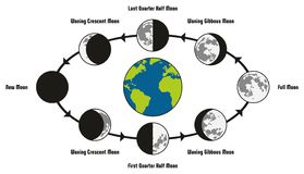 Moon Life Cycle Diagram. Including earth position and all phases during circulation full new waning waxing crescent gibbous first last quarter half for Stock Photos