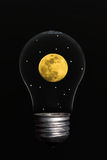 Moon Light. Moonlight - Moon and stars in a glass light bulb Stock Images