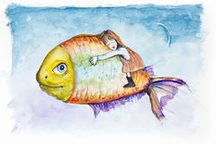 Moon Light Fish dreams. Sweet night kids dreams on Moon Light Fish. Handmade watercolor painting illustration on a white paper art background Royalty Free Stock Photos