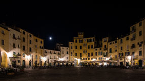 Moon,light,square in Lucca Italy night landscape Royalty Free Stock Photo