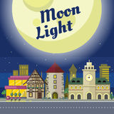 Moon Light. Urban City Illustration at Night Time. Royalty Free Stock Image