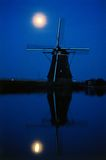 Moon light windmill. Moon back-light of traditional windmill in the Netherlands royalty free stock images