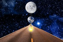 Free Moon Lighting For Universe Royalty Free Stock Photos - 128800668