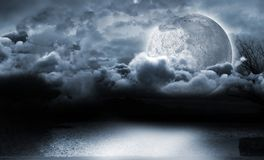 Moon lighting the water Stock Photography