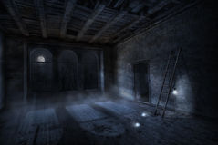 The moon turn on the lights. Room in the night inside old abandoned house. Foggy moonlight and three lamps that light up from the moonlight Stock Photos
