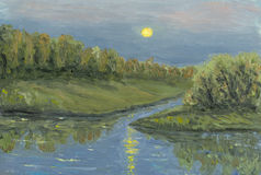 Moon lihgt night lake. Oil painting hand drawn with lake lighting full night moon Royalty Free Stock Photography