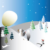 The moon like a huge snowball vector illustration