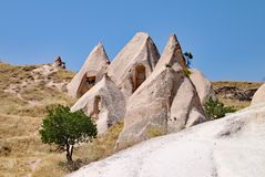 The moon like landscape of the rock formations at Goreme National Park at Cappadocia in Turkey royalty free stock images