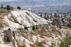 The moon like landscape of the rock formations at Goreme National Park at Cappadocia in Turkey royalty free stock photos