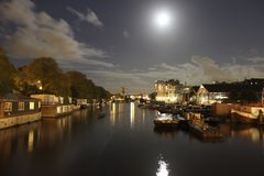 Moon lit Amsterdam canals royalty free stock image
