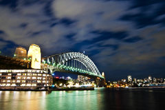 Moon lit Sydney Harbour Bridge with moving clouds in the sky Royalty Free Stock Image