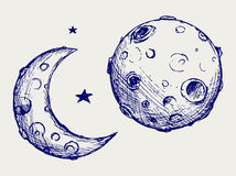 Moon and lunar craters. Doodle style Royalty Free Stock Photo