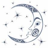 moon månad Forntida astrologiskt symbol gravyr Boho stil ethnic Symbolet av zodiaken Esoteriskt mystiskt vektor stock illustrationer