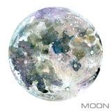 moon Månevattenfärgbakgrund royaltyfri illustrationer