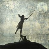 Moon Mad. Please contact Antaratma directly for Print retail licensing. Young woman reaching for the moon. Photo based illustration Royalty Free Stock Photography