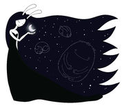 Moon maiden constellations Stock Photos