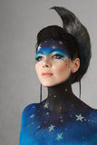 Moon make-up. Young fashion model with fantasy moon make-up Royalty Free Stock Photos
