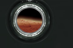 Moon, Mars of alien planet landscape. View from spaceship. Elements of this image furnished by NASA stock photography