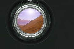 Moon, Mars of alien planet landscape. View from spaceship. Elements of this image furnished by NASA royalty free stock photography