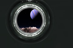 Moon, Mars of alien planet landscape. View from spaceship. Elements of this image furnished by NASA royalty free stock image