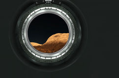 Moon, Mars of alien planet landscape. View from spaceship. Elements of this image furnished by NASA stock photos
