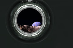 Moon, Mars of alien planet landscape. View from spaceship. Elements of this image furnished by NASA royalty free stock photo