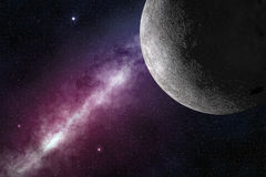 Moon and milky way Royalty Free Stock Photography