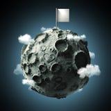 Moon mit Oberflächen- der Krater Herz verkratzter und leerer Flagge auf die Oberseite Wiedergabe der hohen Qualität Getrennt Stockbilder