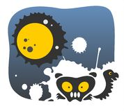 Moon and monsters Royalty Free Stock Image