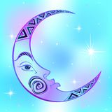 Moon. Month. Ancient astrological symbol. Engraving. Boho Style. Ethnic. The symbol of the zodiac. Esoteric Mystical stock illustration