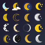 Moon month vector illustration. Phases of the moon vector nature cosmos cycle satellite surface. Whole cycle from new moon month to full surface star astrology Royalty Free Stock Image