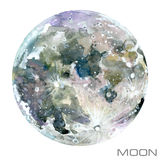 Moon. Moon watercolor background. Planet Moon illustration Royalty Free Stock Photo