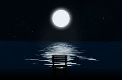 The moon, moonlit path and silhouette of chair Royalty Free Stock Photos