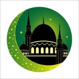 Moon and Mosque for Muslim holy month Ramadan Kareem. Ramadan Mu Stock Photography