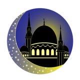 Moon and Mosque for Muslim holy month Ramadan Kareem. Ramadan Mu Royalty Free Stock Photos