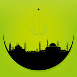 Moon with Mosque. Vector illustration of the moon with mosque Stock Image