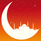 Moon with Mosque. Vector illustration of a moon with mosque Royalty Free Stock Images
