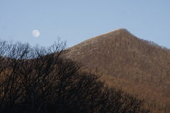 Moon and Mountain. A winter scenic of a bare mountain and moon Stock Photography
