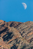 Moon and mountain summit peak Royalty Free Stock Image