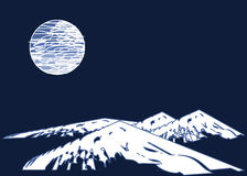 Moon and mountains Royalty Free Stock Images