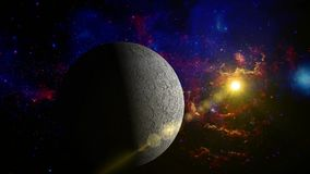 Moon movement in the space - with lens objects stock footage