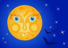 Moon a mulher no céu nocturno com estrelas e bastões Imagem de Stock