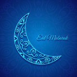 Moon for Muslim community festival Eid Mubarak. On Dark Ornamental Background Stock Photo