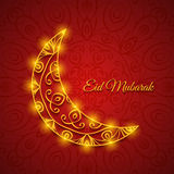 Moon for Muslim Community Festival Eid Mubarak. On Dark Ornamental Background. Vector Design Royalty Free Stock Photography