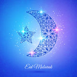 Moon for Muslim community festival Eid Mubarak. Greeting card with moon and star for Muslim community festival Eid Mubarak Royalty Free Stock Photography