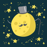 Moon with mustache and dancing stars Stock Photo
