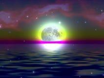 Moon mystery. Fantasy moonrise digital background for multiuse purposes . Enjoy Stock Photo